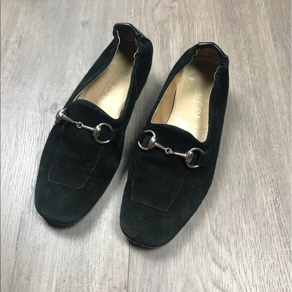 Gucci Shoes - Classic Gucci Horse Bit Black Suede Loafers